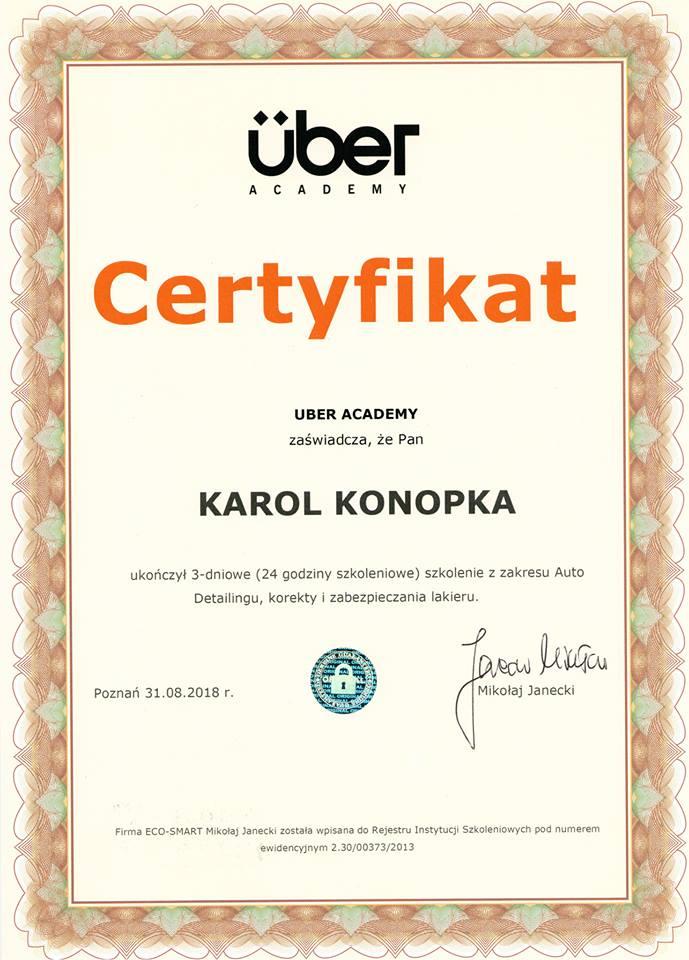 Certyfikat Auto Detailing Master