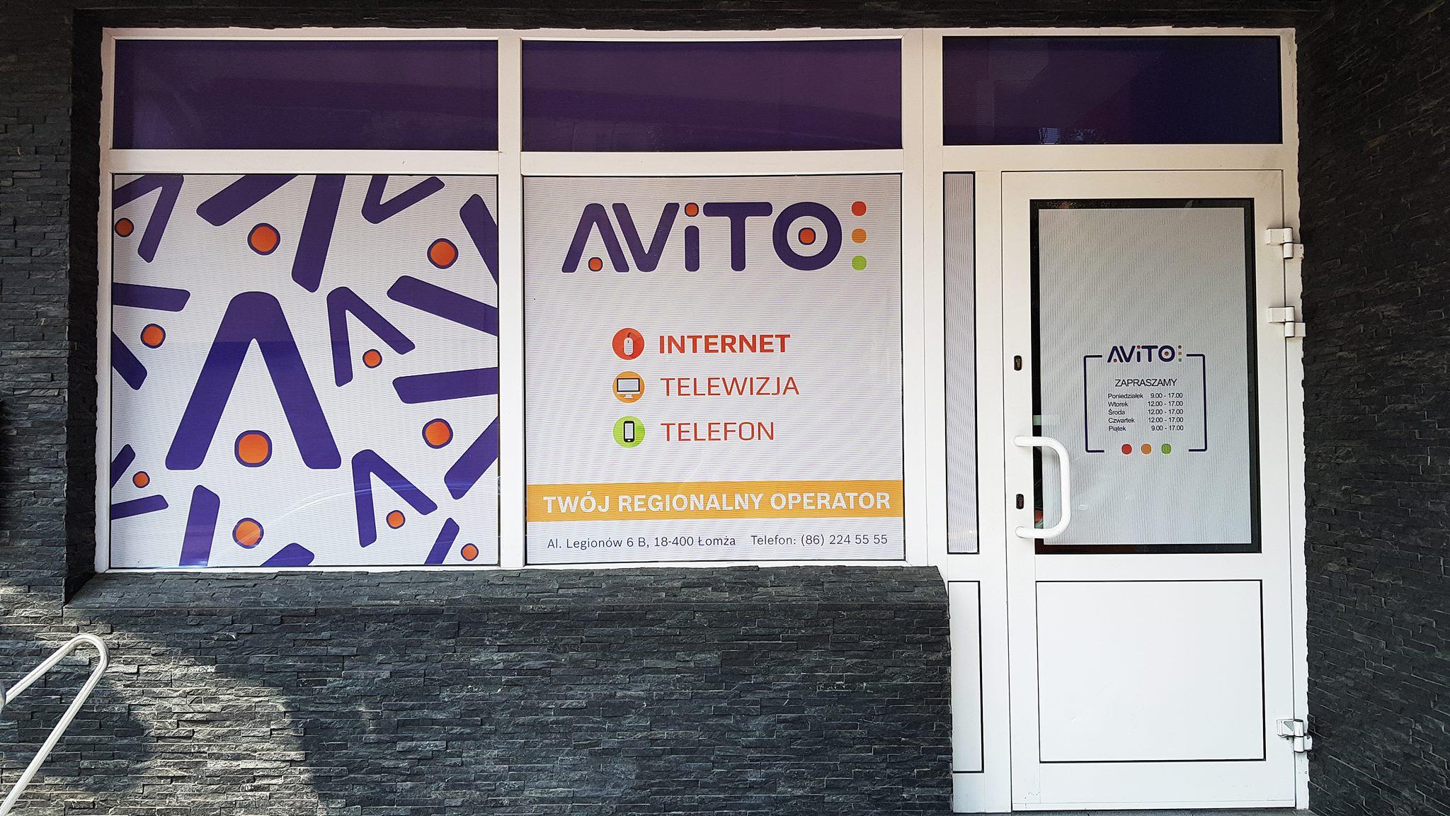 Oklejenie Witryn Lokalu Avito