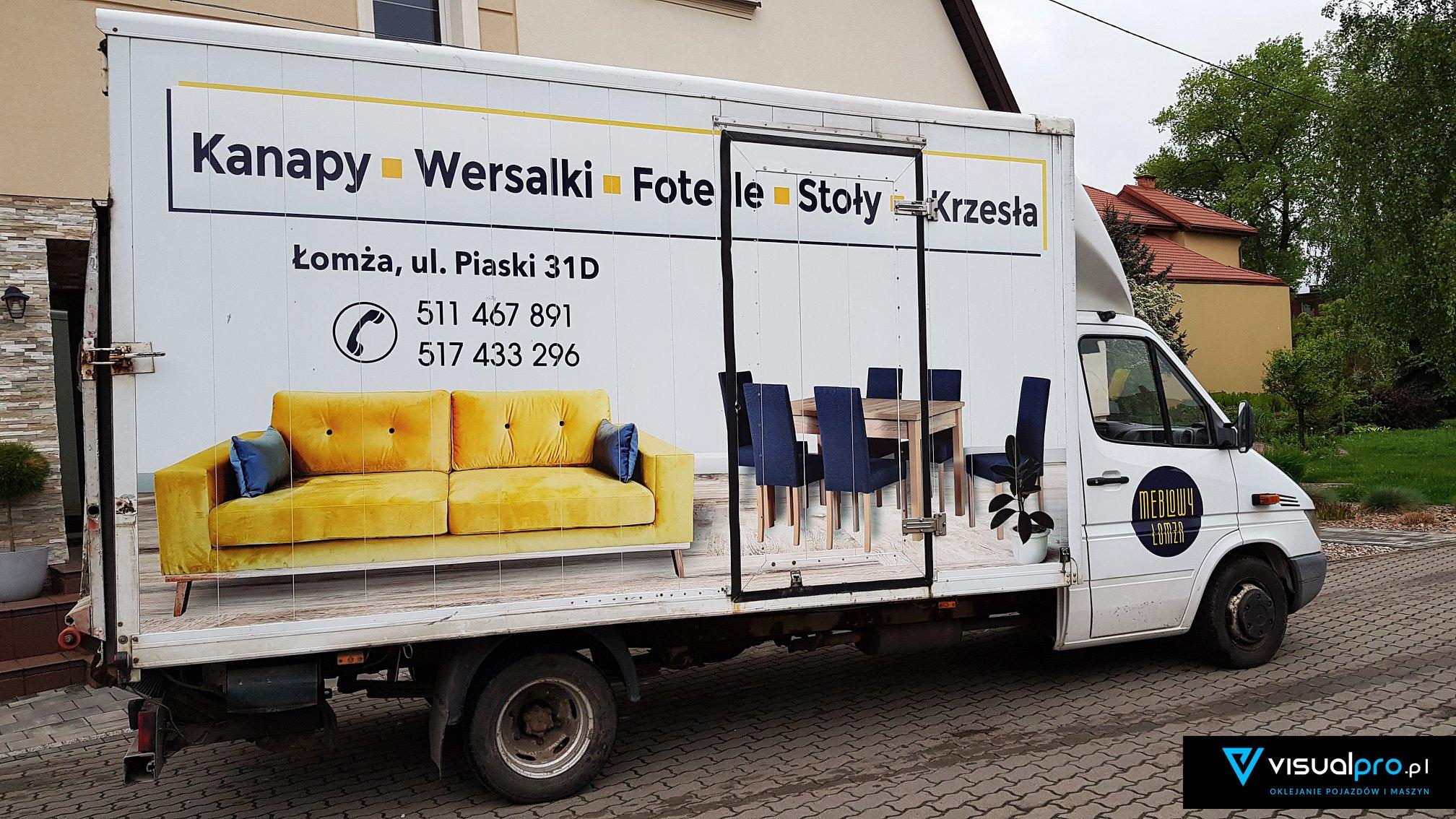 Reklama na samochodzie Meblowy Łomża